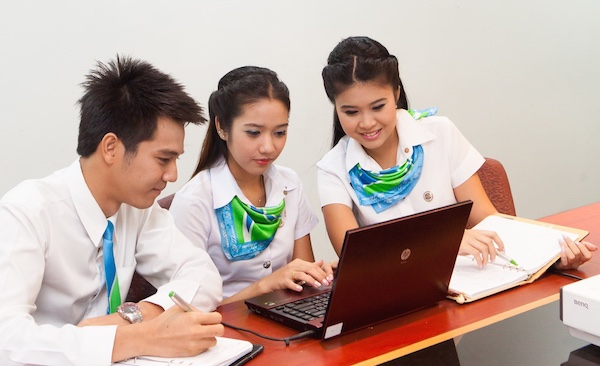 students studying with laptop